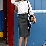 This classic combo got a modern fix with a pair of colorblocked heels.