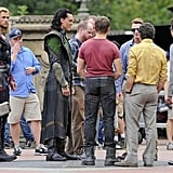 The Avengers cast huddled in Central Park.