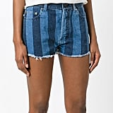 Saint Laurent Striped Denim Shorts