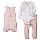Baby Girls' Sleeveless Romper in Peach and White ($15) and 2-Piece Top & Bottom Set in Peach ($13)