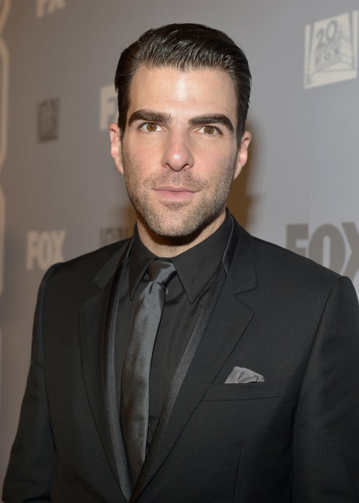 Zachary Quinto went dark and handsome for the Fox party.