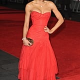 Going red and strapless at the Royal film performance of Mandela in 2013.