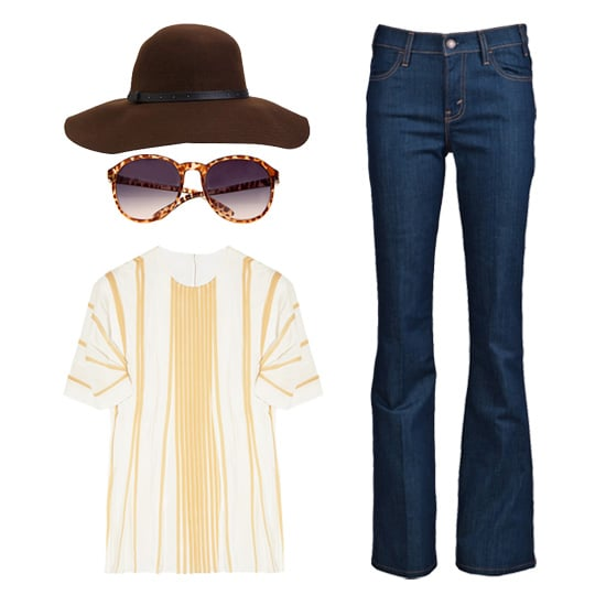 Take a cue from this '70s-chic Chloé blouse and go full-stop bohemian babe; we love how it looks styled with a pair of flared jeans and a floppy, wide-brim hat.  Nixon Floppy Sunhat ($40), Levi's Vintage Flare Jean ($168), Chloé Pleated Silk-Crepe Top ($1,995), Mango Round Sunglasses ($25)
