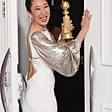 "Sandra Oh Leaving With Her Golden Globe Like, ""Byeeee!"""