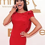 Lea Michele wears Marchesa to the Emmys.