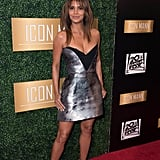 Halle Berry Silver Minidress at Pre-Oscars Dinner 2018