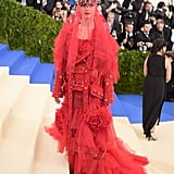 Katy attended the 2017 Met Gala wearing a custom Maison Margiela Artisanal ensemble by John Galliano. The theme was Rei Kawakubo/Commes des Garcons, and Katy was one of the cohosts for the year.