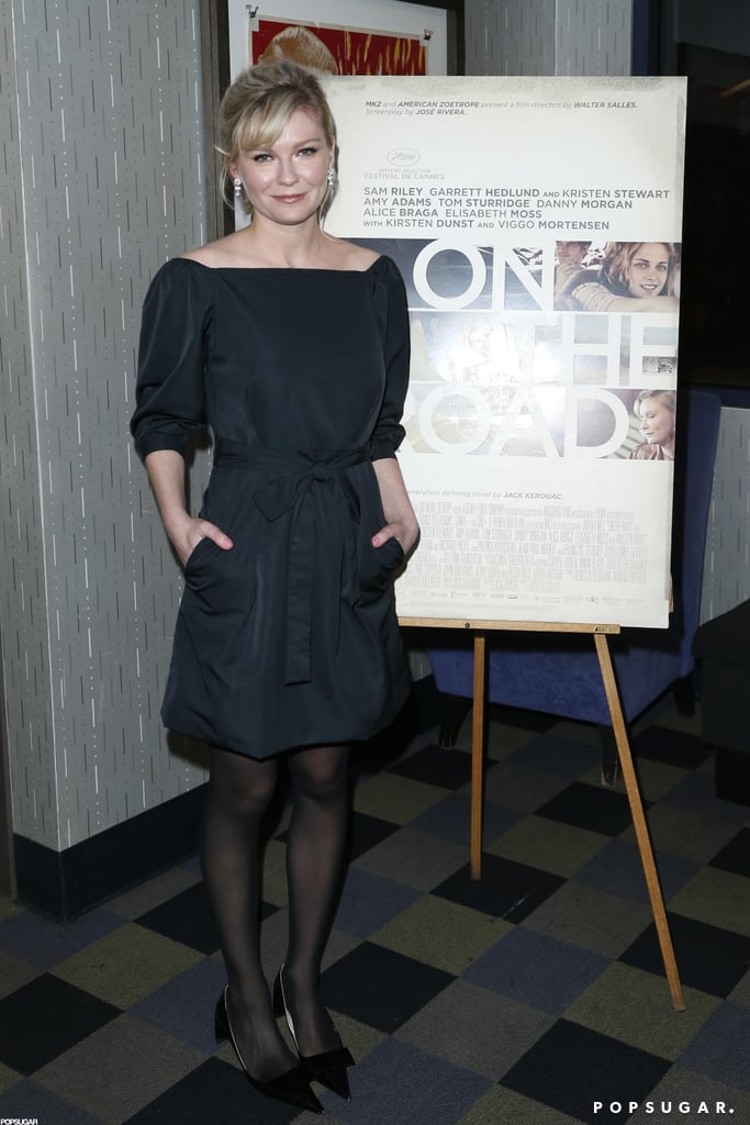 Kirsten Dunst wore black to a press event.