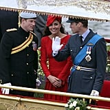 Princes Harry and William chatted with Kate Middleton on the ship.