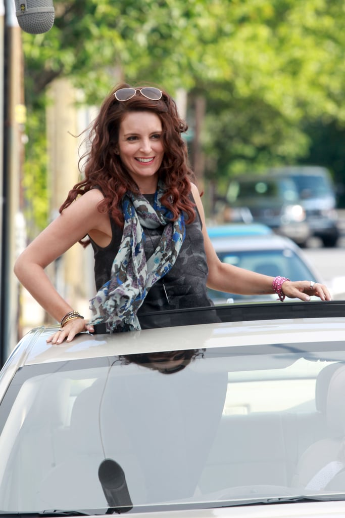 Tina smiled wide during her sunroof scene.