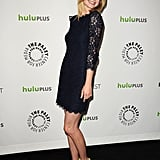We love how Revenge's Emily VanCamp added an unexpected edge to her navy lace frock with a pair of exotic snake-print pumps with yellow detailing.