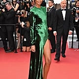 Liya Kebede showed a little leg in an emerald-green gown at The Unknown Girl's premiere.