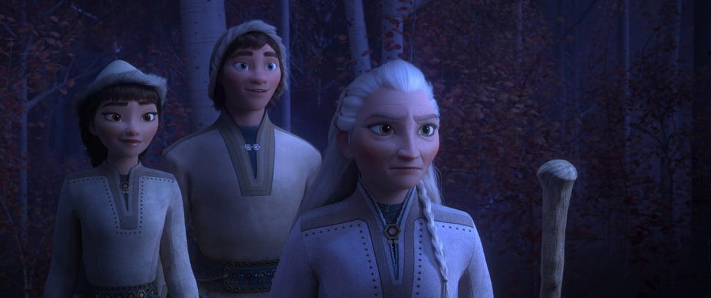 """In the latest batch of images released by Disney, we meet three members of the nomadic Northuldra people, who live in the Enchanted Forest beyond Arendelle. Honeymaren (on the left), voiced by Rachel Matthews, who """"is a true free spirit and wants nothing more than to bring peace to the enchanted forest."""" Standing beside her is her brother, Ryder (Jason Ritter), who """"embraces life with optimism"""" and longs to roam the great plains beyond the Enchanted Forest. Finally, on the right, is Yelana, who Disney describes as the """"unspoken leader"""" of the Northuldra. She is fiercely protective of her family and community but is known to soften when people show an understanding of nature and their environment."""" She's voiced by Martha Plimpton, and will no doubt factor heavily into Elsa's big adventure."""