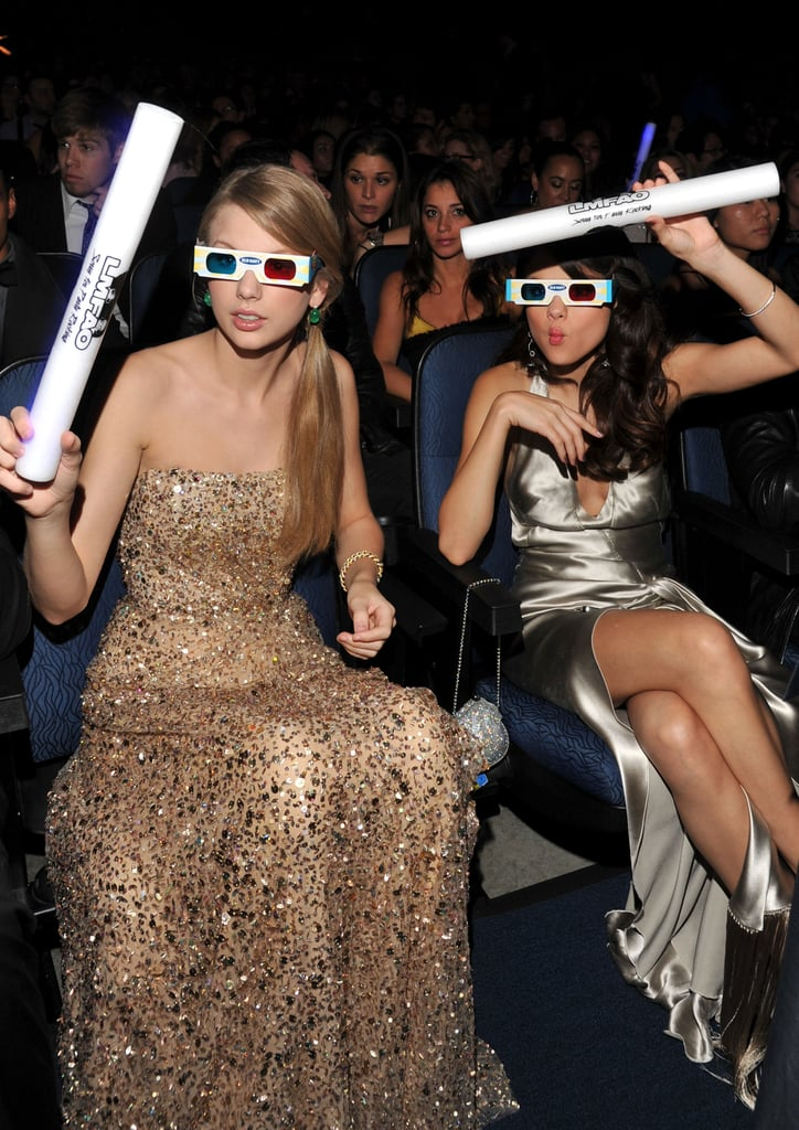"Taylor Swift and Selena Gomez are often seated side by side at award shows and never shy away from getting goofy in public. They constantly tweet to each other, have dance parties, and reportedly help each other deal with breakups (and we all know how Taylor feels about Selena's ex Justin Bieber). Taylor has said about their friendship, ""So much about our lives have changed over the last couple of years, but  our friendship has stayed the same."""