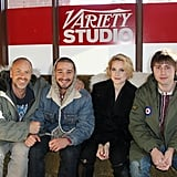Shia LaBeouf smiled with costars Evan Rachel Wood and James Buckley and The Necessary Death of Charlie Countryman director Fredrik Bond at Sundance 2013.