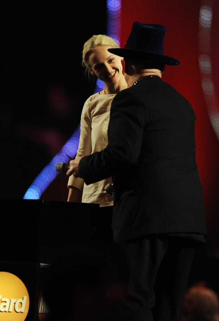 Pictures from the 2011 BRITs Show Onstage Including Performances, Winners, Presenters and Host James Corden, Rihanna, Cheryl Col