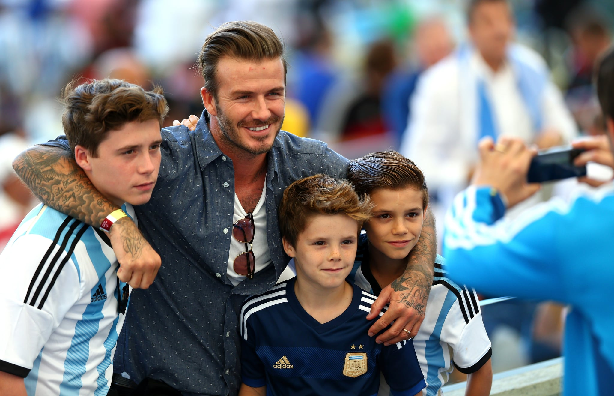 David Beckham and his boys went to the World Cup final.