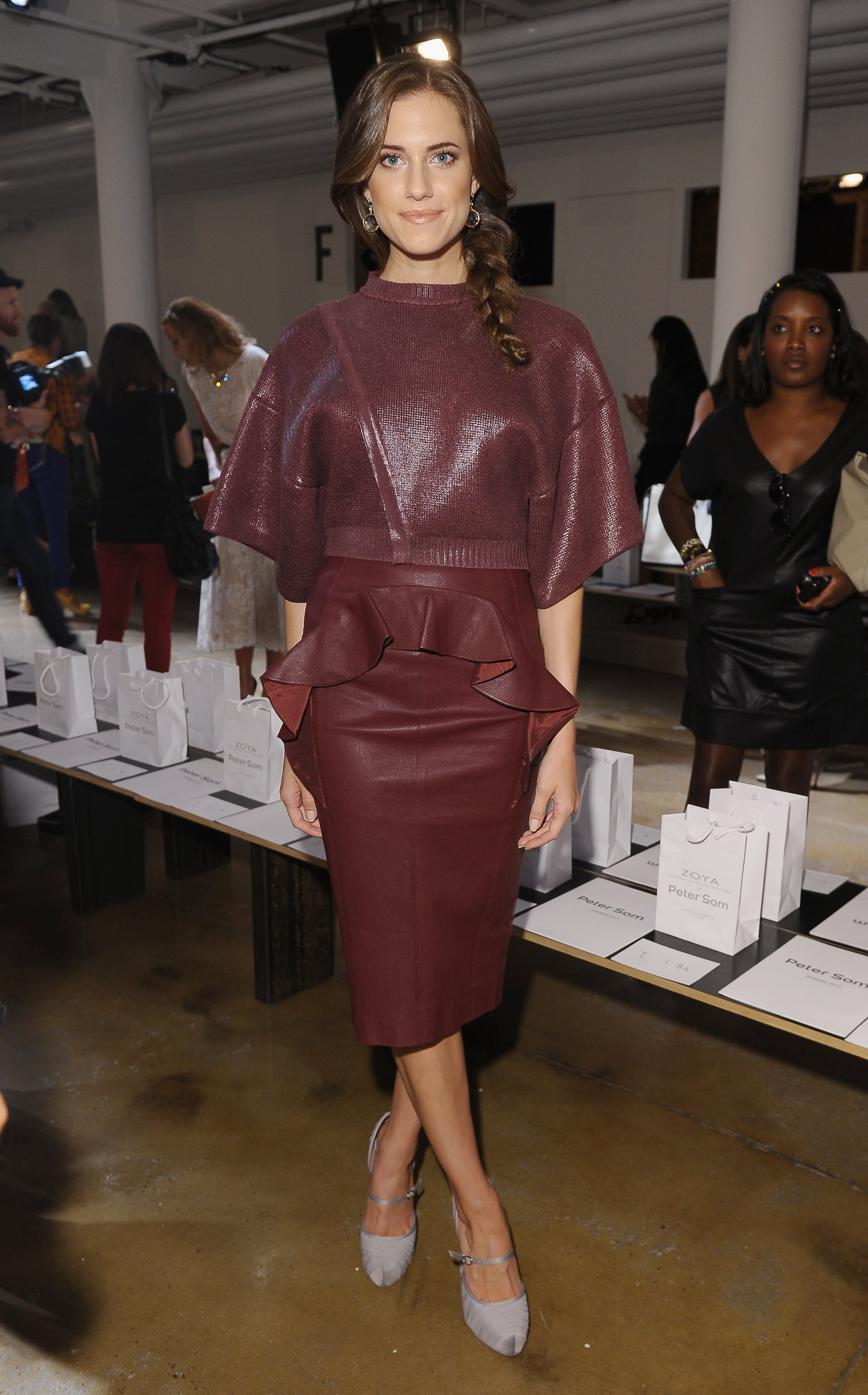 Allison Williams showed off Fall's hottest hue — on a peplum-trimmed leather skirt, no less — front row at Peter Som in New York.