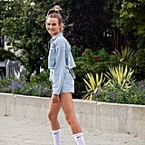 Tube socks are a playful way to give a denim jacket and shorts a sportier feel.