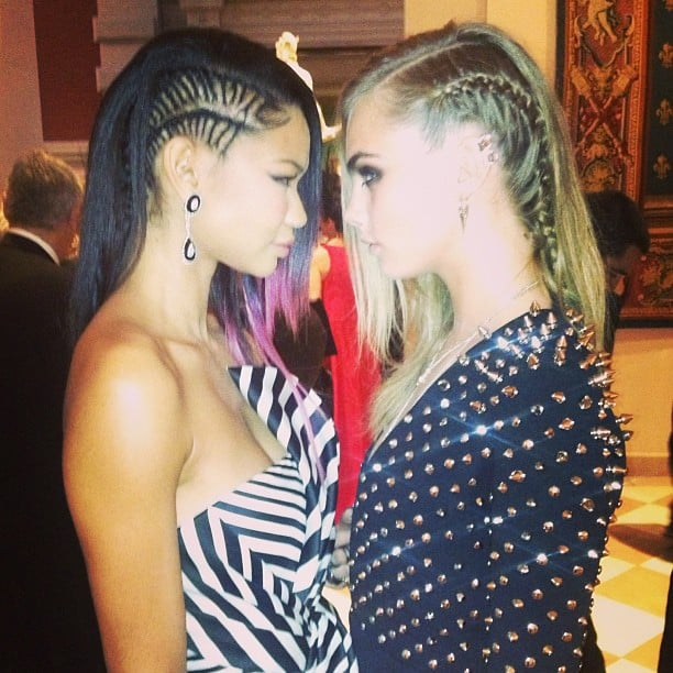 Models Chanel Iman and Cara Delevigne went head to head at the punk-themed Met Gala. Source: Instagram user chaneliman