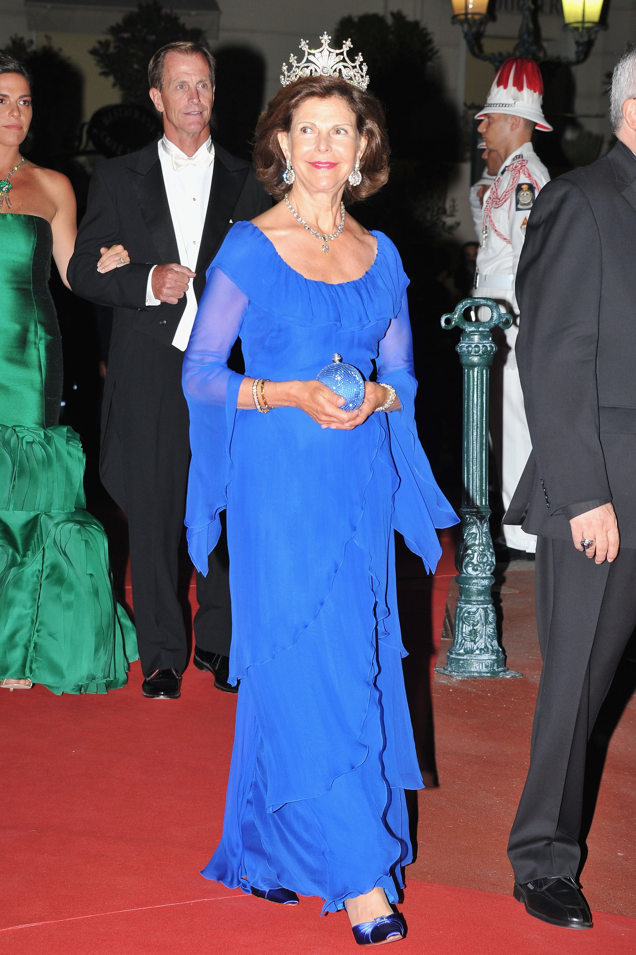 Queen Silvia of Sweden attended a dinner at Opera terraces after the religious wedding ceremony of Prince Albert II of Monaco and Princess Charlene of Monaco.