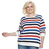"POPSUGAR Plus Size ""Love Ya Self"" Striped Sweater"