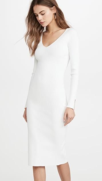 Ganni Square-Neck Ribbed-Knit Midi Dress