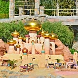 The tiny castles you see in Storybook Land.