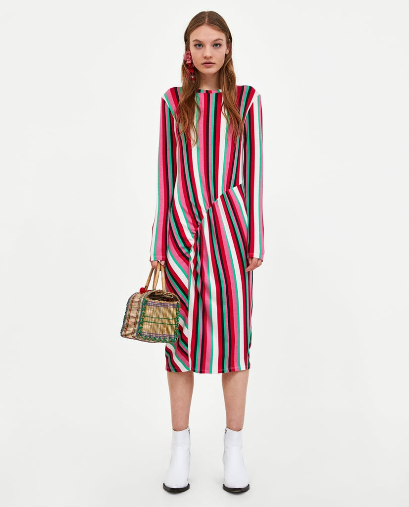 ea2c1f5100974 Zara Midi Dress With Gathered Detail | Zara Sale Summer 2018 ...