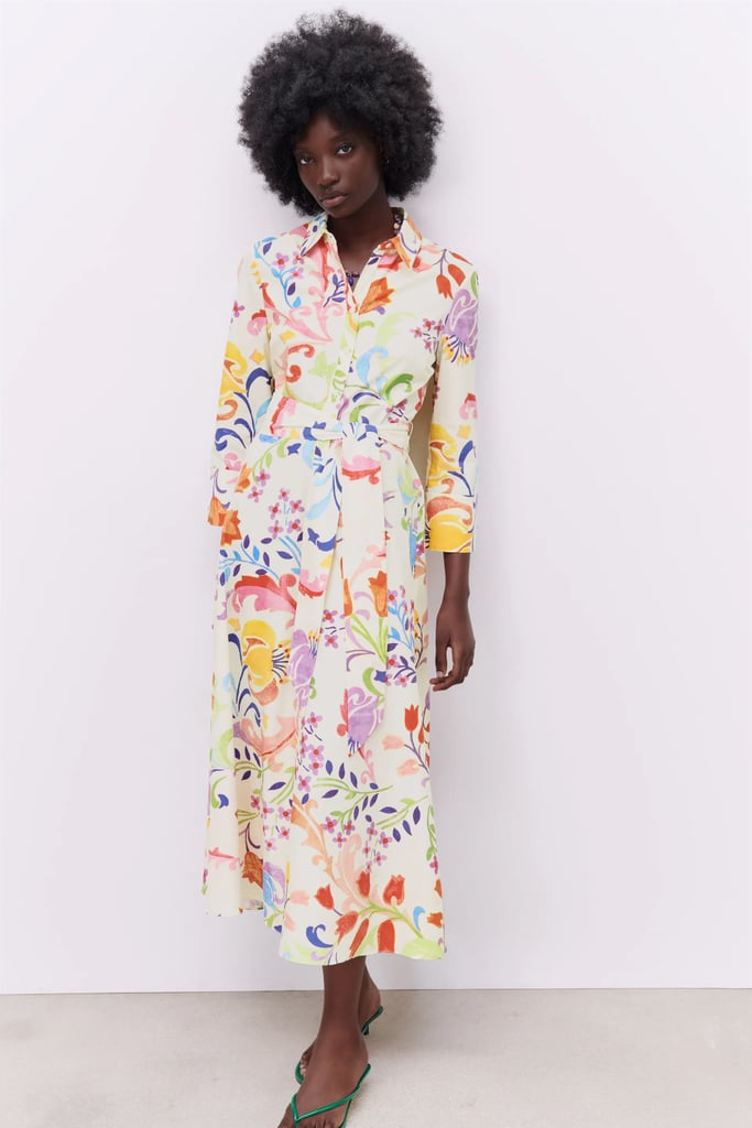 Zara Printed Midi Dress