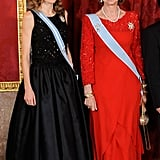 Queen Sofía in a Red Gown, December 2009