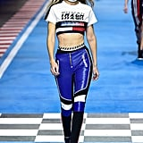 Gigi Modeled This Crop Top and Racer-Style Pants