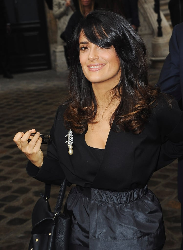 Salma Hayek was all smiles as she arrived.