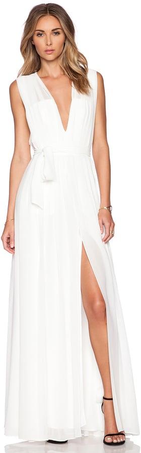 L'Agence Deep V Pleated Maxi Dress ($695)