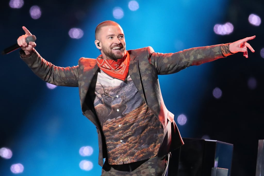 "Justin Timberlake took the Super Bowl by storm with a high-energy, down-home halftime show performance on Sunday. The singer — whose fifth studio album Man of the Woods was released on Feb. 2 — ran through a handful of his biggest hits, including ""SexyBack,"" ""Rock Your Body,"" and ""Mirrors,"" as well as more recent bops like ""Filthy"" and ""Can't Stop the Feeling.""  In the days leading up to Justin's performance, it was rumored that he would be joined on stage by Janet Jackson and a Prince hologram). Justin did pay homage to the Purple One with a projection of the singer and a soulful duet of ""I Would Die 4 U,"" during which the city of Minneapolis glowed purple. Keep reading to see all the best photos from Justin's night at the Super Bowl!"