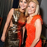 Jennifer Lawrence, in Prabal Gurung, posed for a photo with costar Elizabeth Banks.