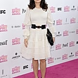 Salma Hayek on the red carpet at the Spirit Awards 2013.