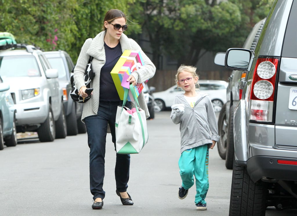 "Violet Affleck and Jennifer Garner were spotted leaving a friend's house in LA yesterday. Jen carried a colorful gift box from Giggle baby boutique while Violet skipped back to the car. Violet and little sister Seraphina have been splitting their time with Jen and dad Ben Affleck while baby Samuel has spent much of his first few months at home. The Garner-Affleck group is likely planning an exciting weekend of family fun with Father's Day right around the corner. Ben shared a sweet message about ""world-class mom"" Jennifer on Mother's Day, and hopefully she'll return the sentiment for her number one guy. Jen could also show her support by voting for Ben in the PopSugar 100 since he's among the hot A-List stars competing for this year's title!"