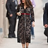 Salma Hayek's black lace Gucci dress in March 2016 was chic, sexy streetwear.