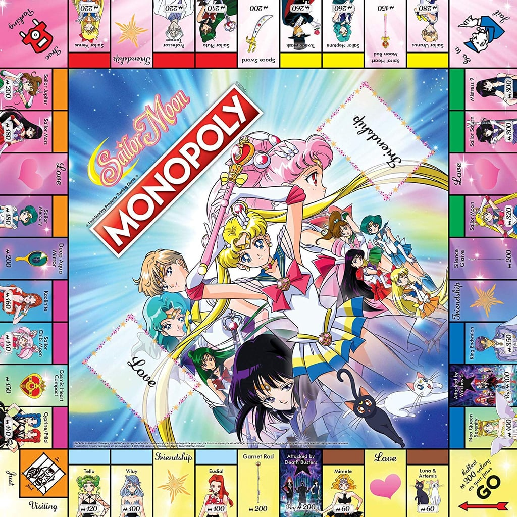 The nostalgia gods have blessed us with yet another nostalgic Monopoly board, so now fighting evil by the moonlight, winning love by the daylight, and dominating the real estate market all go hand-in-hand. The Sailor Moon Monopoly Board by USAopoly, available through retailers like Urban Outfitters, ThinkGeek, and Amazon, is basically a sparkly pastel dream with callbacks to all of your favorite characters, including little Luna and Artemis. Rather than Chance and Community Chest cards, this board features Love and Friendship cards (aw!), as well as six Sailor Moon-inspired tokens, including the cosmic heart compact, a moon chalice, a garnet orb, a space sword, a spiral heart moon rod, and a deep aqua mirror. So get ready, soldiers of love and justice, to make your next game night a '90s aesthetic dream.      Related:                                                                                                           I Just Can't Wait to Be Queen of This Lion King Monopoly Game — There's Even a Scar Token!