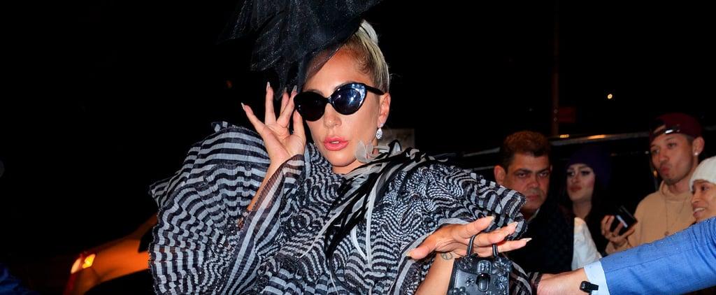 Lady Gaga Striped Minidress at Pre-Met Gala Dinner