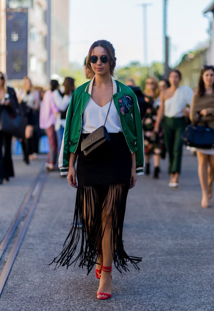Take Out Your Old Boho Skirt And Refresh It With A Modern Bomber Best Australia Fashion Week