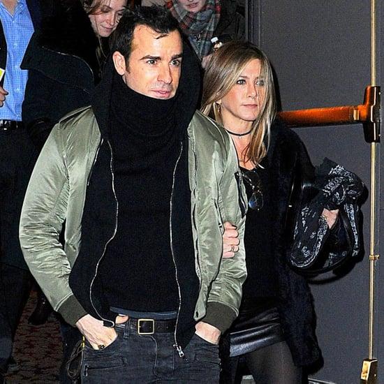 Jennifer Aniston Wearing a Black Leather Skirt