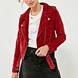 Blank NYC Red My Mind Suede Moto Jacket
