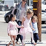 Jennifer Garner watched the girls happily leave ballet class in LA.