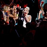 Pink performed as the crowd cheered.