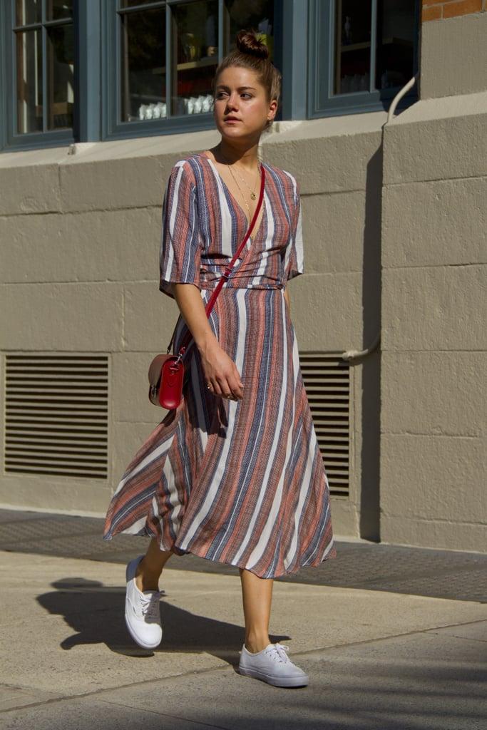 With a Striped Wrap Dress