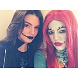 Kendall and Khloé showed off their makeup in a selfie.