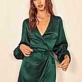 Reformation Starlight Long Sleeve Silk Wrap Minidress