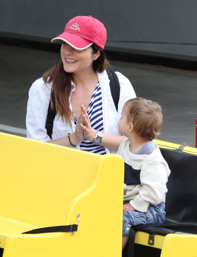 Selma Blair was all smiles with her son, Arthur, at an LA farmers market.